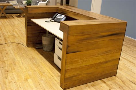 custom reception desk reclaimed wood images