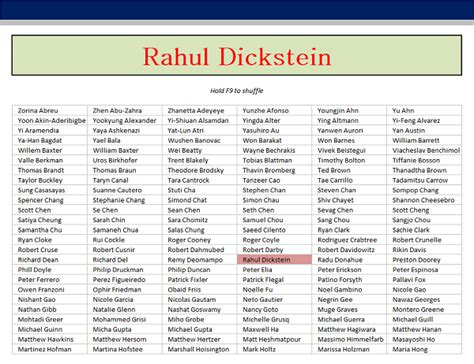 Mba Excel Model by Excel Random Student Name Generator