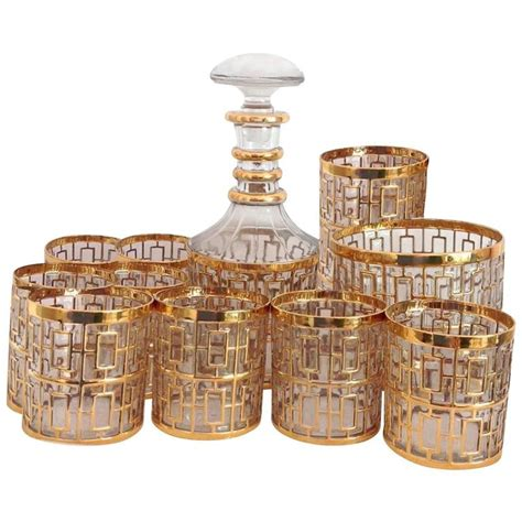 Gold Barware 1960s imperial glass shoji gold barware set at 1stdibs