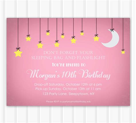 sleepover invitation template slumber invitations invitations templates