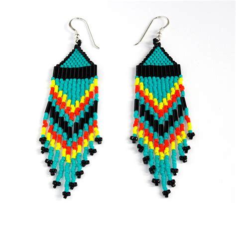 beaded american earrings stainless steel rings beaded earrings angle weave