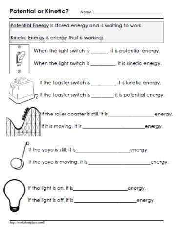 kinetic vs potential energy worksheet potential or kinetic energy worksheet gr8 awesome kinetic energy and worksheets