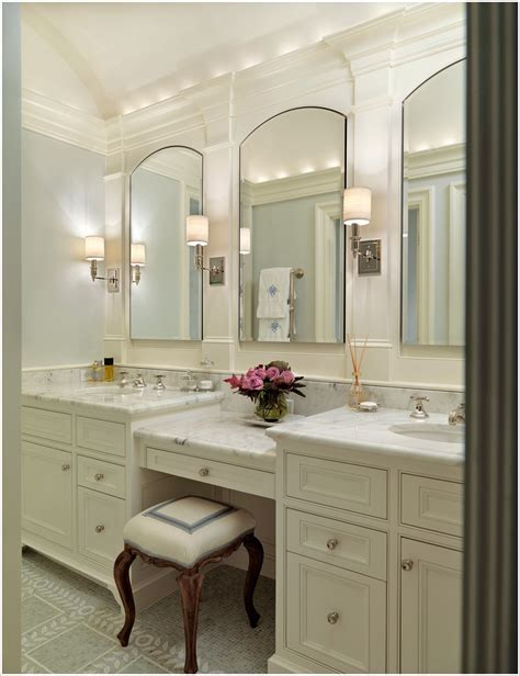 2 sinks in bathroom want a double vanity with actual seat either between