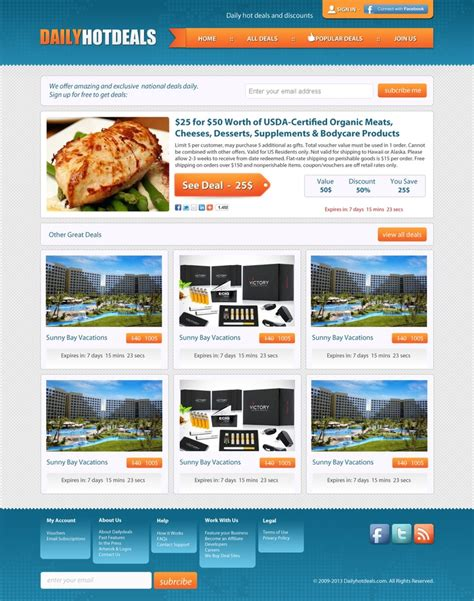 daily deal template exclusive freebie daily deals website psd template free