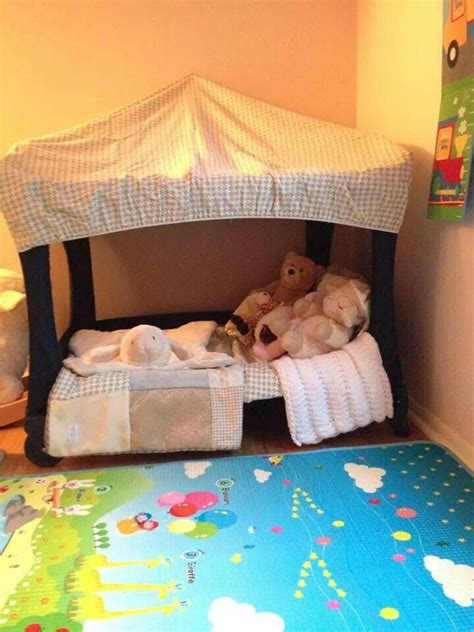 pack and play bed pack n play converted to a toddler bed braden pinterest nooks house and toddlers