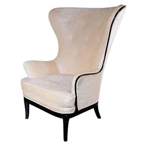 Velvet High Back Chair by Exceptional Mid Century High Back Chair In Oyster Velvet