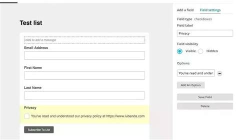 Privacy Policy For Mailchimp Guide And Template Mailchimp Form Templates