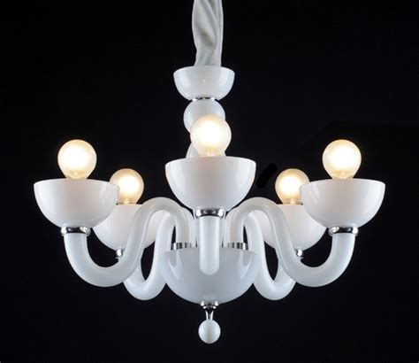 Contemporary Black Chandelier Modern White Black Glass 5 Lights Chandelier