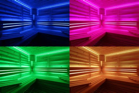 sauna beleuchtung led rgb hinterbank beleuchtung sauna farblicht