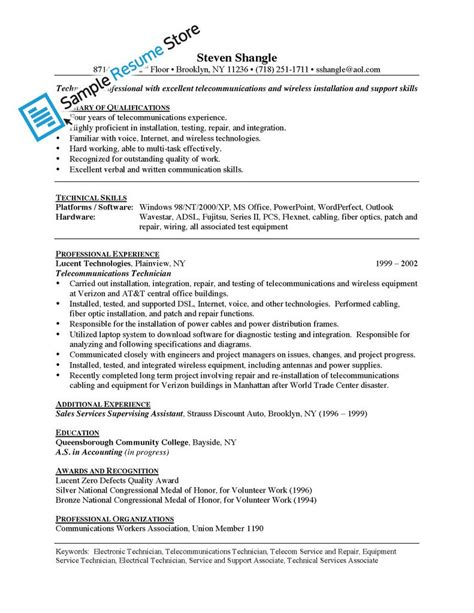 electronic technician resume sle images