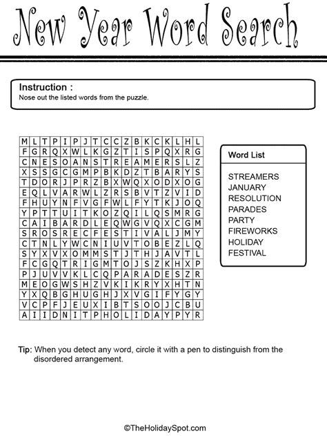 new year word search easy word search template white word search template