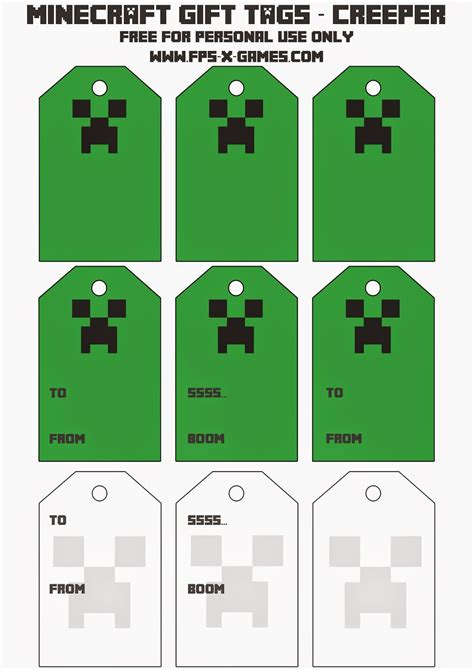 creeper template printable minecraft creeper gift tags