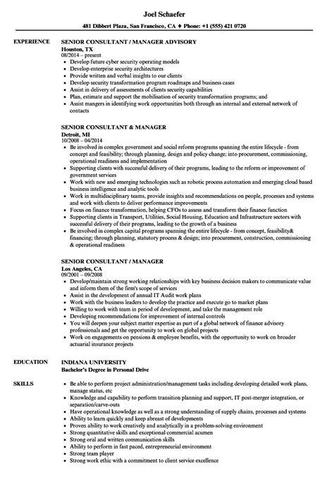 senior consultant manager resume sles velvet