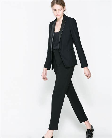 Blazer Zara zara blazer with faux leather lapel in black lyst
