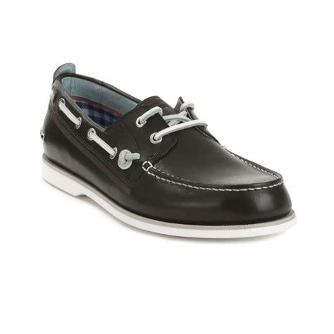 black boat shoes tommy hilfiger ally boat shoe in black for men lyst