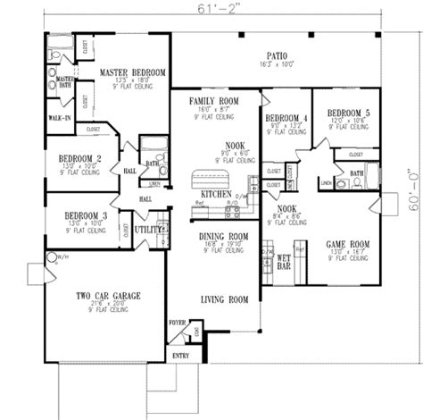 floor plans for a 5 bedroom house traditional style house plan 5 beds 3 baths 2463 sq ft