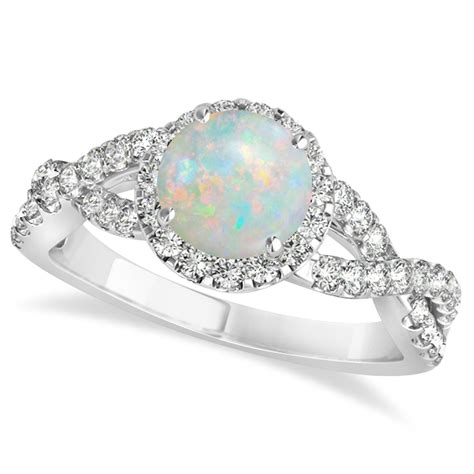 opal twisted engagement ring 14k white gold 1