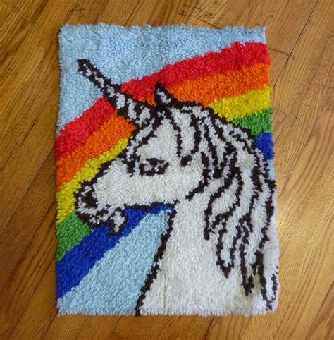 unicorn rug vintage 80s rainbow unicorn rug or wall hanging tapestry so