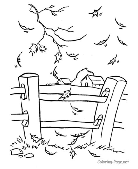 autumn farm coloring page fall leaves coloring pages