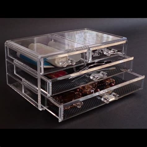 Acrylic Make Up 2 Drawer Akrilik clearly chic acrylic 4 drawer makeup jewelry organizer