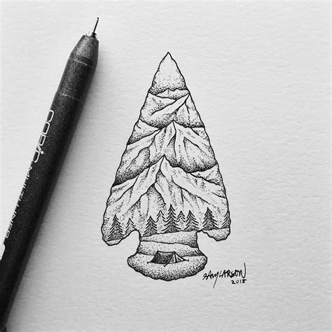 arrow head tattoo arrowhead mountains illustration by samlarson