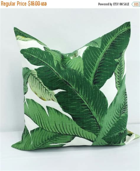 sale palm pillow cover green throw pillow by