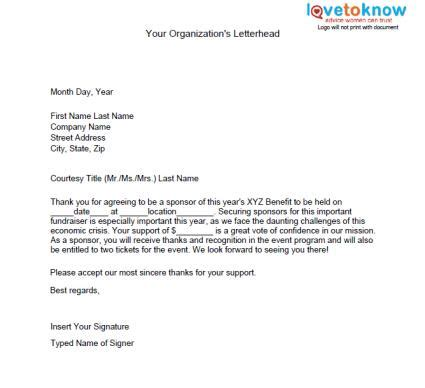 thank you letter for charity sponsorship sles of non profit fundraising letters lovetoknow
