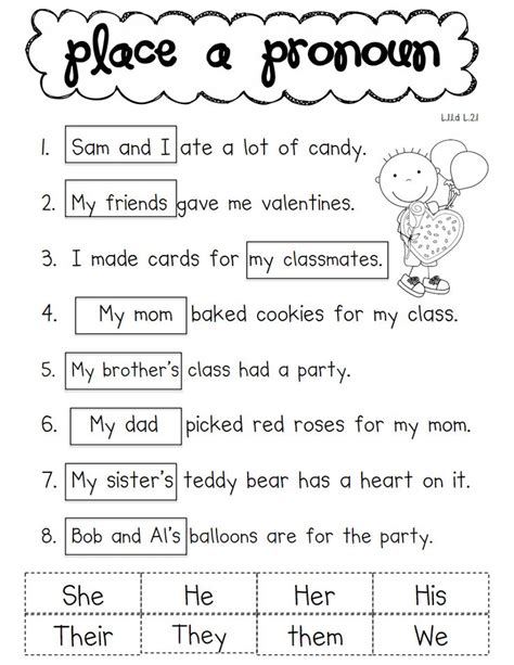 Pronoun Worksheet by Pronoun Pdf School Ela