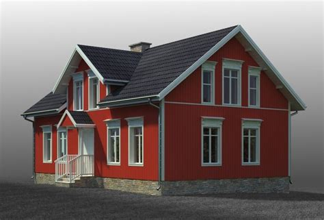 swedish house small swedish house 3d model max obj 3ds fbx