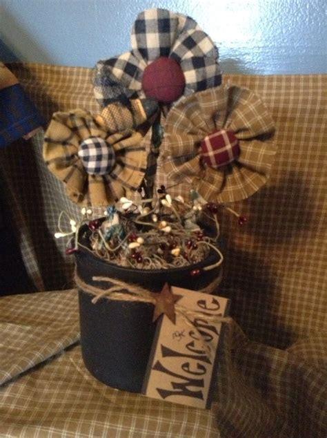 Handmade Primitive Decor - primitive country handmade forever flower arrangement