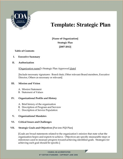 strategic business planning template 8 strategic plan outlinememo templates word memo