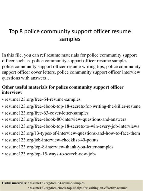 Community Support Officer Sle Resume by Top 8 Community Support Officer Resume Sles