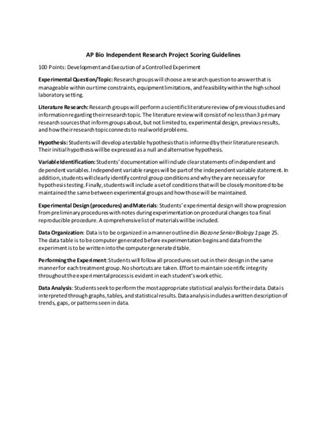 biology research paper exle ap biology research paper guidelines