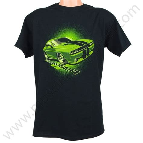 dodge challenger t shirt lime green
