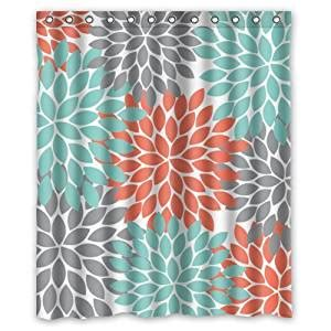 orange and gray shower curtain com orange grey green dahlia floral pattern shower
