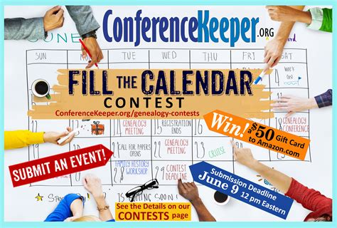 Contest Calendar Conferencekeeper S Quot Fill The Calendar Quot Contest