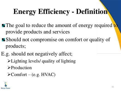 comfort level definition energy efficiency a kenya power perspective