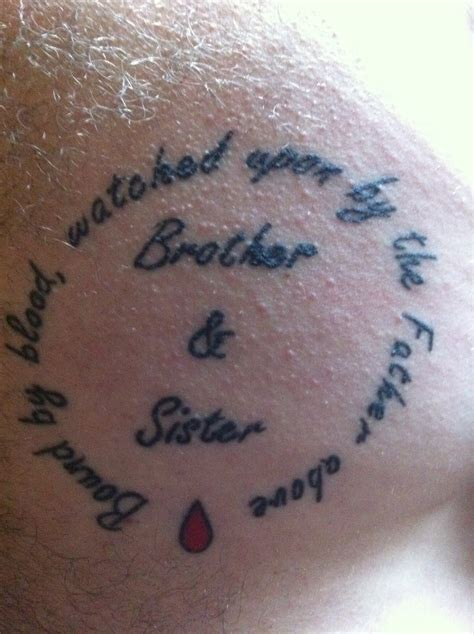 brother n sister tattoos bound by blood watched upon by