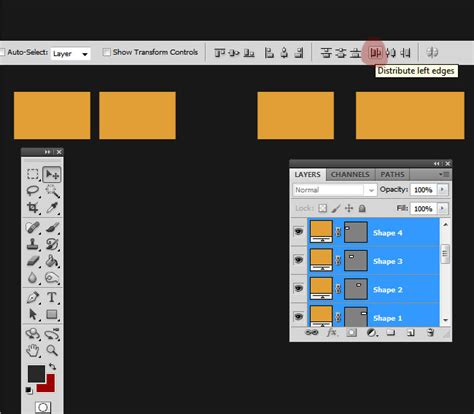 align and distribute layers in photoshop distribute equal space between layers in photoshop