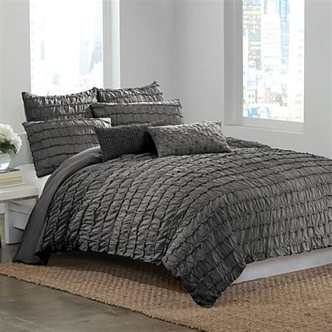 dkny bedding dkny 174 ruffle wave charcoal duvet cover bed bath beyond