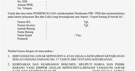 contoh surat kuasa ppjk pembuatan pib dan transfer edi