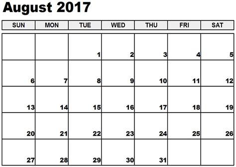 Calendar Uk August 2017 Calendar Uk