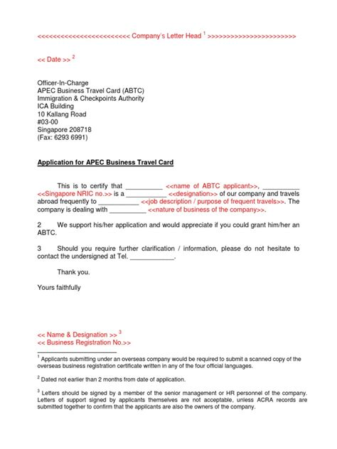 Support Letter Company Sle Apec Travel Card Letter Of Support Docshare Tips