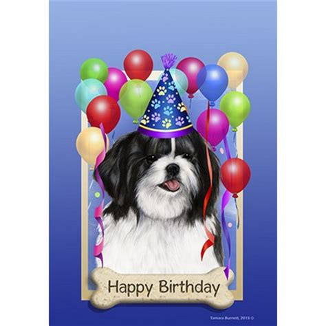 happy birthday shih tzu pictures shih tzu black happy birthday flag by tamara burnett furrypartners