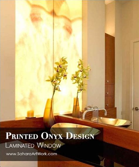 A beautiful digital printed onyx texture inserts with natural backlight laminated glass and