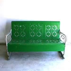 Metal Glider Sofa Spring Green Vintage Glider Metal Bench Industrial Home