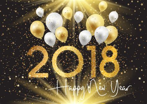new year gold vector happy new year background with gold and silver balloons