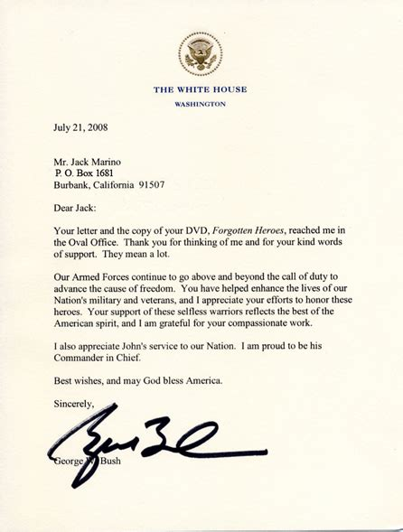 white house letterhead white house letter