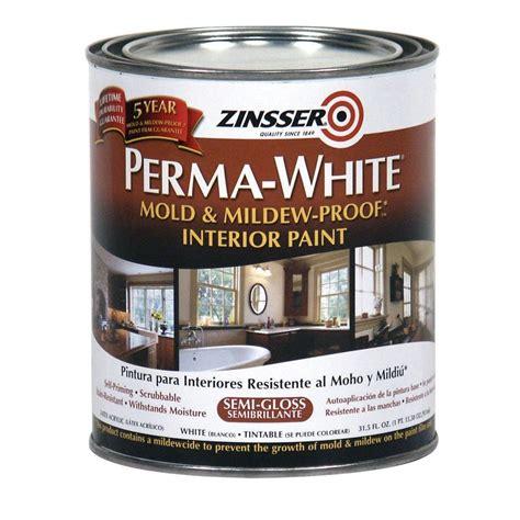 home depot zinsser paint zinsser 1 qt perma white mold and mildew proof semi gloss