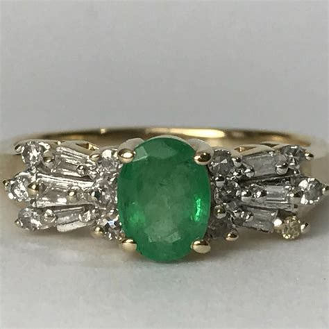 vintage emerald engagement ring deco accents